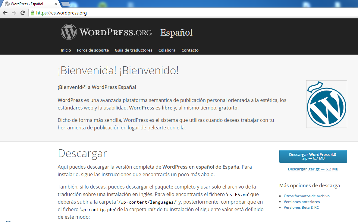 Descarga wordpress