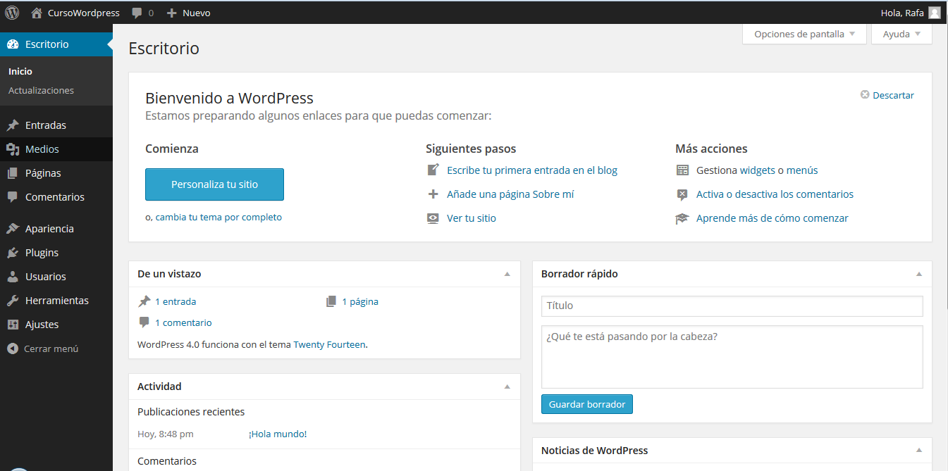 escritorio wordpress